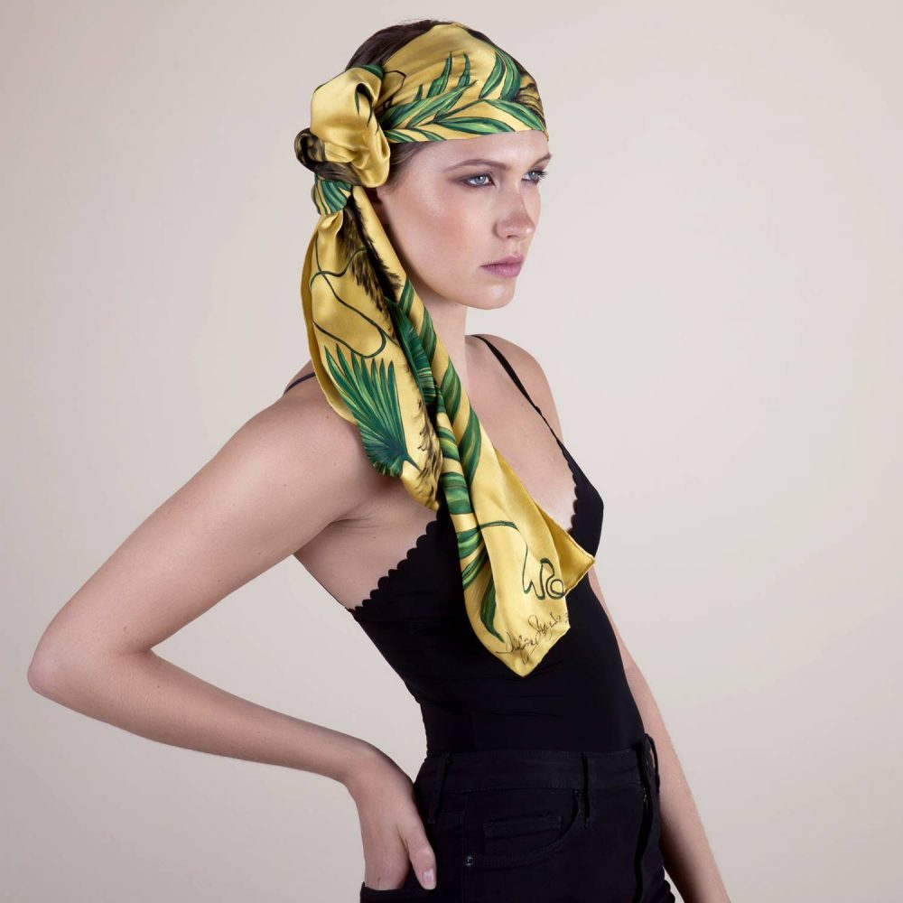 'Study in Golden Yellow #3' Silk Scarf by textile artist Lidija Seferovic
