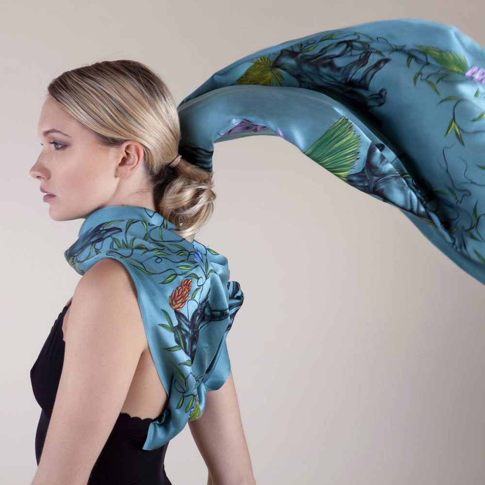 'Study in Turquoise Sea #3' Long Silk Scarf by textile artist Lidija Seferovic