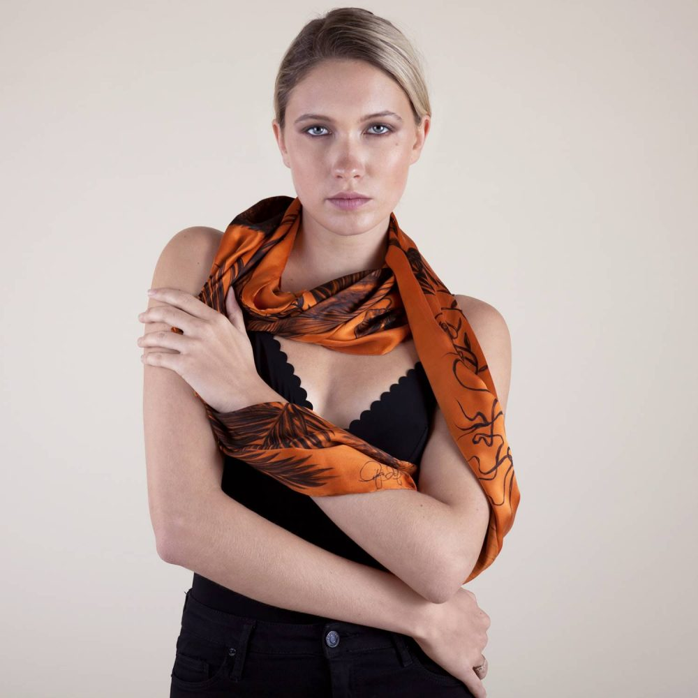 'Study in Burnt Orange #2' Long Silk Scarf by textile artist Lidija Seferovic