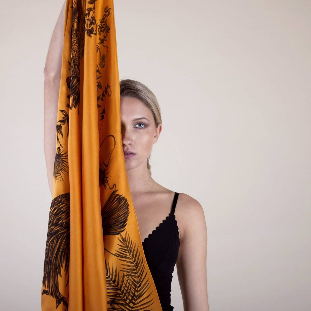 'Study in Sun Orange' Silk Scarf by textile artist Lidija Seferovic
