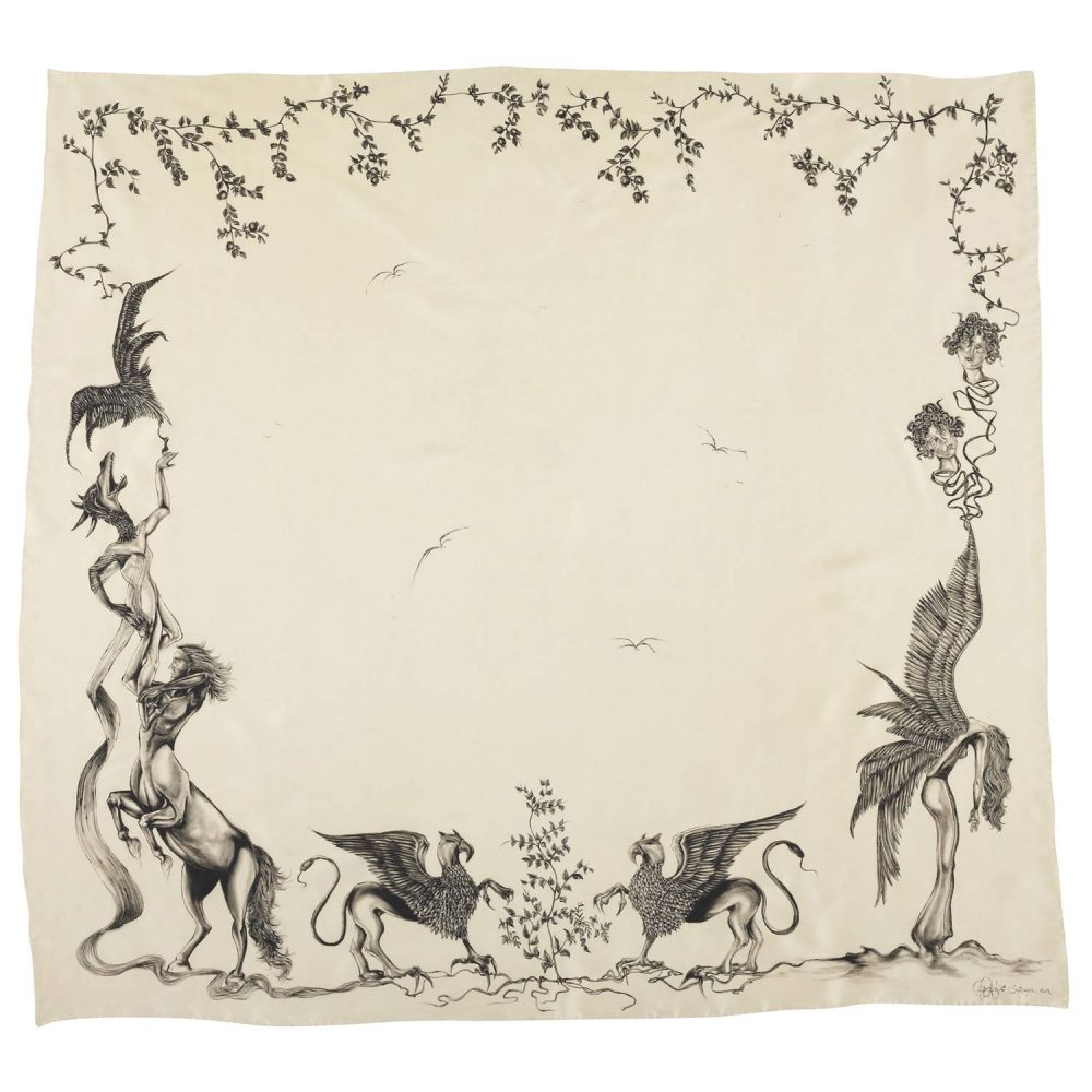'The Griffin, The Centaur and The Pomegranate Tree' Silk Scarf by textile artist Lidija Seferovic